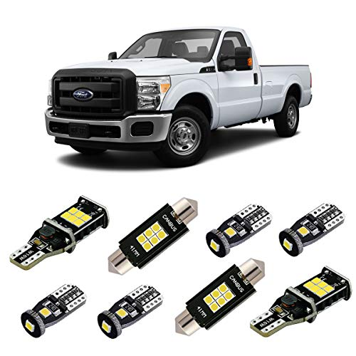 iBrightstar Super Bright Canbus LED Bulbs Package Kit for 1999-2016 Ford F250 F350 Super Duty Interior Map Dome Lights + Door Lights + Cargo Lights + License Plate Lights, Xenon White (Interior Lights Package Led)