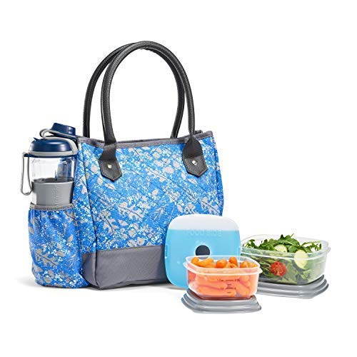 Fit & Fresh McAllen Lunch Bag Kit with BPA-Free Containers and Water Bottle, Cobalt Blue Leaf Scramble