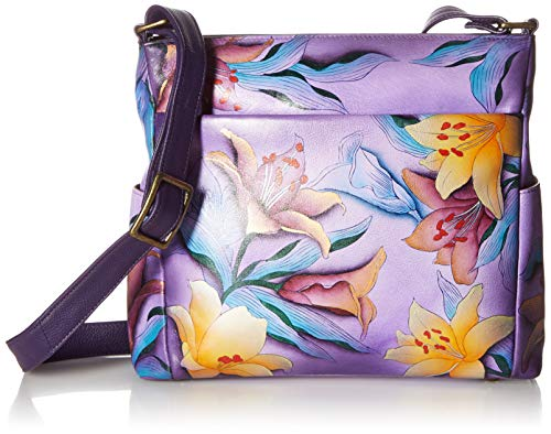 Anna by Anuschka Hand Painted Leather Women's Crossbody with Side Pockets, Sugar Lily