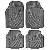 Motor Trend MT774GR Flextough Standard-4Pc Set Heavy Duty Rubber Floor Mats for Car SUV Van and Truck, Gray
