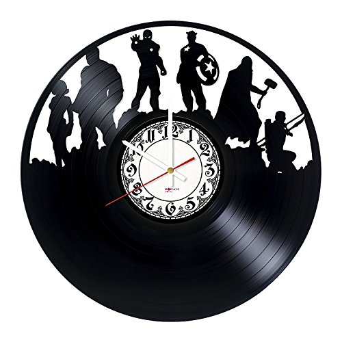 Comics Handmade Vinyl Record Wall Clock - Get unique bedroom or home room wall decor - Gift ideas for friends, men and women – Superheroes Unique Art