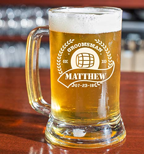 (Personalized Beer Glass - Custom Beer Mug, Pint Glass, Pilsner Glass | Add your own Engraved Text (Beer Mug 16oz))