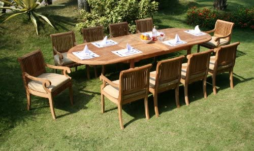 WholesaleTeakFurniture Grade-A Teak Wood 10 Seater 11 Pc Dining Set: 117″ Double Extension Oval Table 10 Giva Arm/Captain Chairs WFDSGV