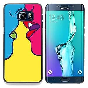 - Kiss Sensual Woman Yellow Pop Art/ Duro Snap en el tel????fono celular de la cubierta - Cao - For Samsung Galaxy S6 Edge Plus