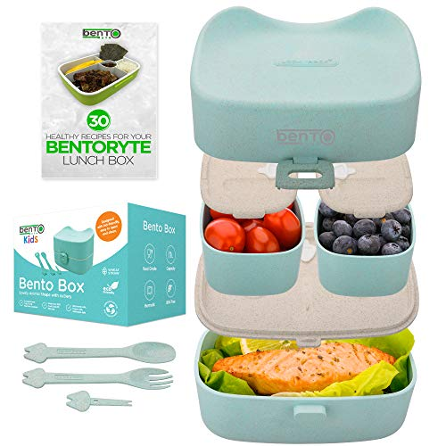 BentoRyte Kids Bento Lunch Box Set with Accessories| Insulated Food Containers for Kids | 3 Compartment BPA Free Lunchbox Container| Meal Prep and Storage Tupperware Boxes | Freezer and Microwave Safe