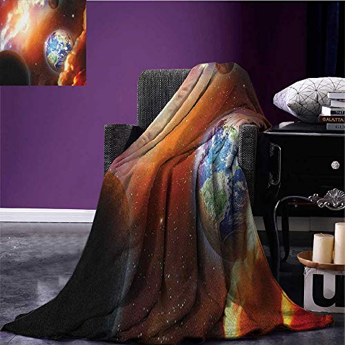 Space Custom blanket Dust Cloud Nebula Stars in Solar System Scene with Planet Earth Pluto and Neptune all weather blanket Orange Blue size:50''x60'' by Anniutwo