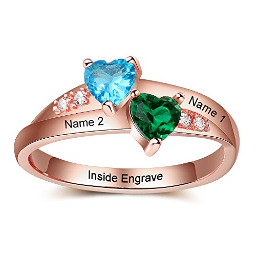 Lam Hub Fong Personalized Rose Gold AAAA Cubic Zirconia Created 2 Birthstone Promise Rings for Her Couples Engagement Rings for Women Mothers Rings Size 5