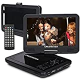 10.5 Inch Portable DVD Player with 270° Swivel Screen, CREATESTAR 4 Hours Rechargeable Battery, USB/SD Card Reader and Car Charger/Mounting Kit - Black