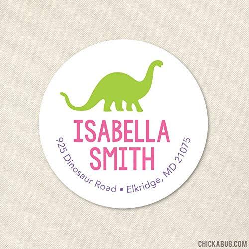 - Moira Pink Dinosaur Address Labels Sheet of 20