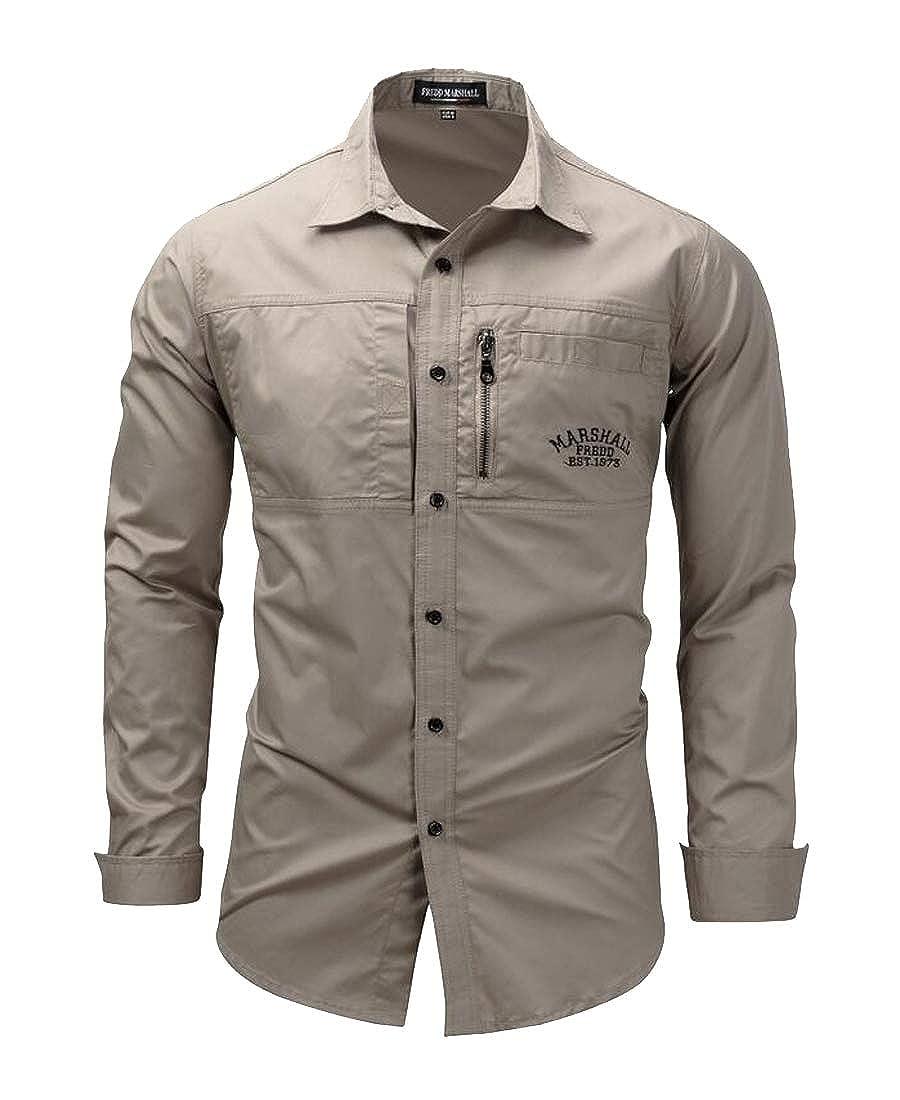 Heless Mens Cotton Lapel Neck Casual Zipper Long Sleeve Button Down Dress Shirt