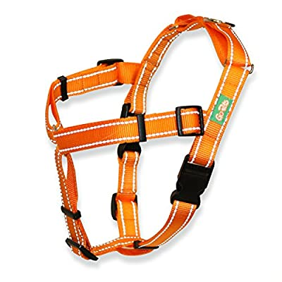Professional Quality No Pull Dog Harness by GoPets in Safety Orange w Reflective Stitching, Includes Waste Bag Attachment, for Medium Large XL Dogs