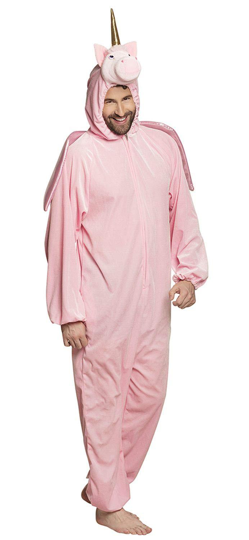 Costume tuta peluche Unicorno (max 1,95m), rosa