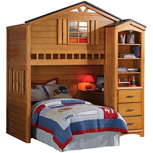 Tree House Rustic Oak Finish Wood Twin Loft Bed with Book Shelf Cabinet