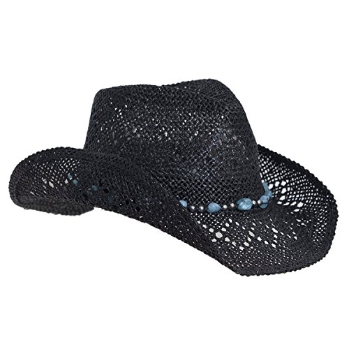 (Black and Blue Straw Cowboy Hat for Women with Beaded Trim and Shapeable)