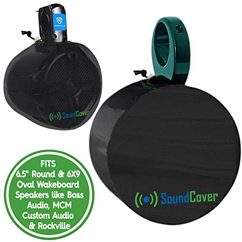2 Boat Speaker Covers for 6.5 Round and 6X9 Inch Oval Marine ATV Wakeboard Tower Pod Speakers - Speaker Bags fit Boss Audio, MCM Custom Audio, Rockville Marine Speakers - Sold in Pairs