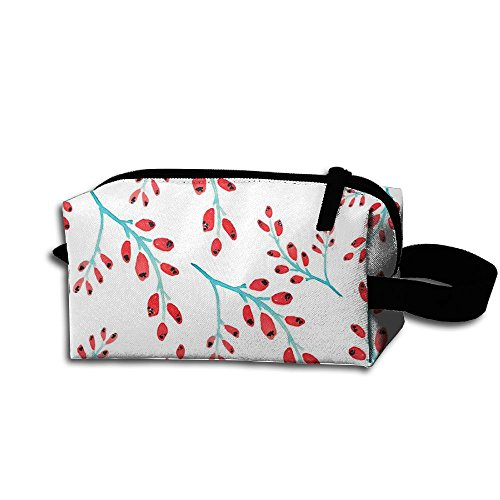 Unisex Design Red Berry Vines Pattern Portable Make-up Receive Bag Hand Cosmetic Bag Makeup Bag Sewing Kit Medicine Bag For Home