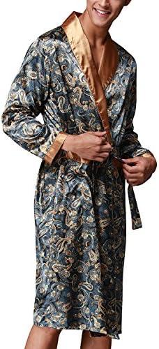 Dolamen Men/'s Dressing Gown Bathrobe Kimono Satin Long Belt Pockets Silky Soft /& Lightweight Luxury Men/'s Kimono Dressing Gown Bath Robe Bridesmaid Housecoat Nightwear Pyjamas