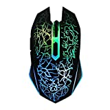 QIANXIANG Ergonomic USB Wired Gaming Mouse with 2400 DPI Adjustable High Precision 6 Button 7 Colors Cool LED Optical for Laptop PC Computer Gamer