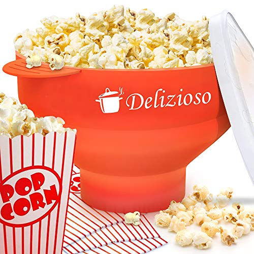 The Original Delizioso Microwave Popcorn Popper, 4 Popcorn Cups and Popcorn Recipes E-BOOK Included, Collapsible Bowl, FDA Approved, No BPA (Red) ()
