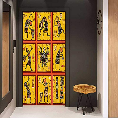 (Wood Door Sticker Orange Set of Nine African Figures Ethnic Tribal Patterns Aboriginal Native Culture Easy-to-Clean, Durable W30 x H80 Coral Black Yellow)