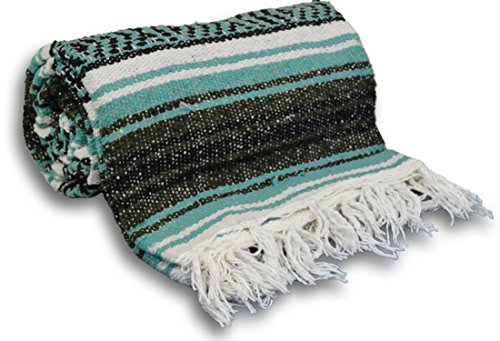 YogaAccessories Traditional Mexican Yoga Blanket - Light Green