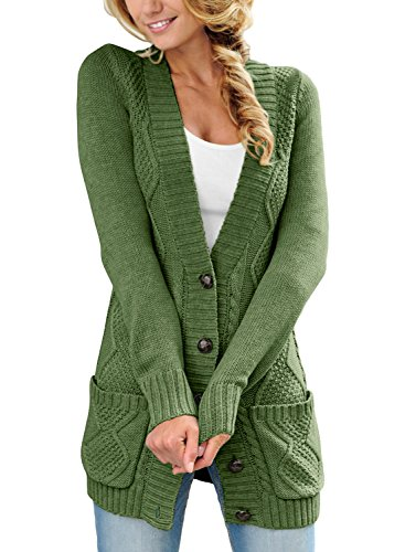 Sidefeel Women Open Front Cardigan Sweater Button Down Knit Sweater Coat Large Green