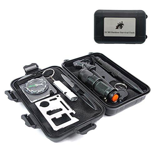 ECHI 10 in 1 Security Defense Gear,Multi-purpose Outdoor Survival Tools
