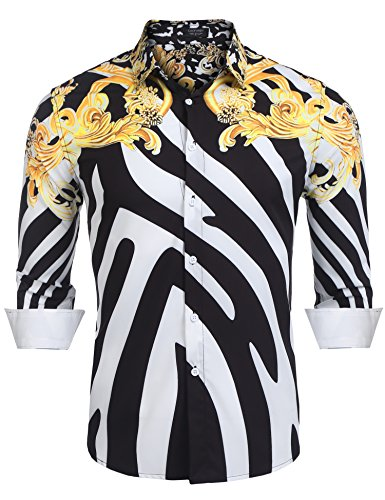 Coofandy Mens Fashion Long Sleeve Luxury Print Shirts, Black, X-Large