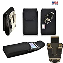 Rugged Heavy Duty Black Canvas Duty Belt Case Vertical with Metal Clips fits Motorola Moto X with the Otterbox Defender or Commuter Case on it. Strong Magnetic shut for extra protection. Great for Police, Contractors, Landscapers and Tough Jobs.