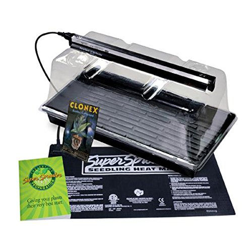 Propagation Station w/ Grow Light Includes Heat Mat Tray 7 in. Dome Super Sprouter 726402 by Super Sprouter