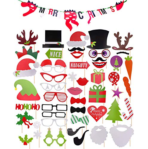 Merry Christmas Banner Photo Props - 50 Pieces Christmas Photo Booth Props Kit with Dinosaur Merry Christmas Banner Decorations Supplies Selfie Props for Holiday Party]()