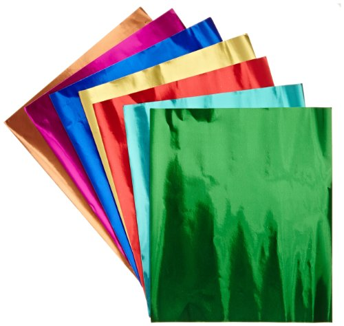 "Hygloss Products Metallic Foil Paper Sheets - 8 Assorted Colors, 8 1/2 x 10"", 24 (Silver Colored Foil)"