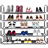 Elvoes 5-Tier Shoe Rack, Space Saving Shoe Organizer for Closets&Cabinet&Entryway Storage Non-Woven Fabric Holds 25 Pairs of Shoes (Black)