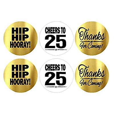 25th Birthday / Anniversary Cheers Hooray Thanks for Coming White and Gold Chocolate Drop Candy Party Favor Decoration Stickers -216ct: Toys & Games