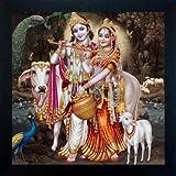 Madhav Art Lord Radha Krishna Painting Digitally Printed Classic Creative and Decorative Photo Frame/God Krishna Religious Digital Images for (30cm x 30cm)