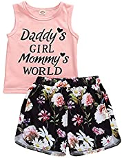 Toddler Kid Baby Girls Summer Outfits Letter Printed T-Shirt Tank Top Floral/Leopard Shorts Set 6M-5Y