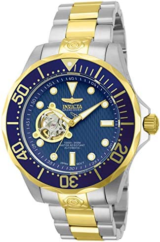 Invicta Men s 13706 Grand Diver Automatic Blue Textured Dial Two Tone Stainless Steel Watch