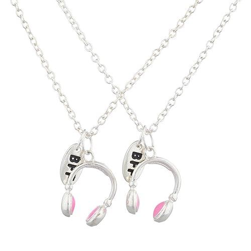 """la mejor actitud 36319 66814 Juego de collares para mejores amigos, con """"BFF"""", color plateado,  auriculares rosas, 2 unidades, de Lux Accessories"""