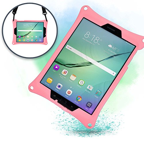 Samsung Galaxy Tab S3 9.7 case, [Hand & Shoulder Strap Rugged Case] COOPER BOUNCE STRAP All-In-One Carry Case w/ Adjustable Stand, Heavy Duty Tough Drop Shock Proof - Adults Kids Special Needs (Pink) (Wi Fi Tablet 3g Samsung)