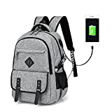 Lightweight Water Resistance Business Computer Backpack with Usb Charging Port Fit upto 14inches Laptop and Notebook (Grey)