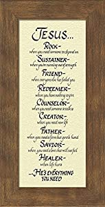Amazon attributes of jesus christian framed art poem plaque attributes of jesus christian framed art poem plaque for wall hanging great easter gift negle Images