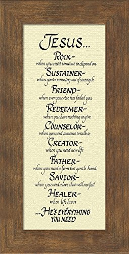 amazoncom attributes of jesus christian framed art poem plaque for wall hanging great easter gift home kitchen