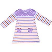 Girls Long-Sleeved O-Neck Dress Striped Heart Kids Dress(4T)