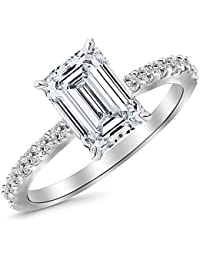 1 Ctw 14K White Gold Classic Side Stone Pave Set Diamond Engagement Ring (0.75 Ct H-I Color SI1 Clarity Emerald Cut Center)