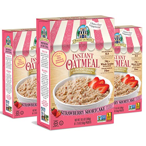 Bakery On Main Gluten-Free, Non-GMO Ancient Grains Instant Oatmeal, Strawberry Shortcake, 10.5 Ounce/6 Count Box (Pack of 3) ()