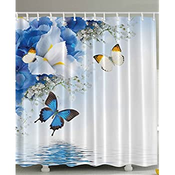 Ordinaire Fabric Shower Curtain By Ambesonne, Resort Spa Home Decor Blue White Wild  Flowers Monarch Yellow