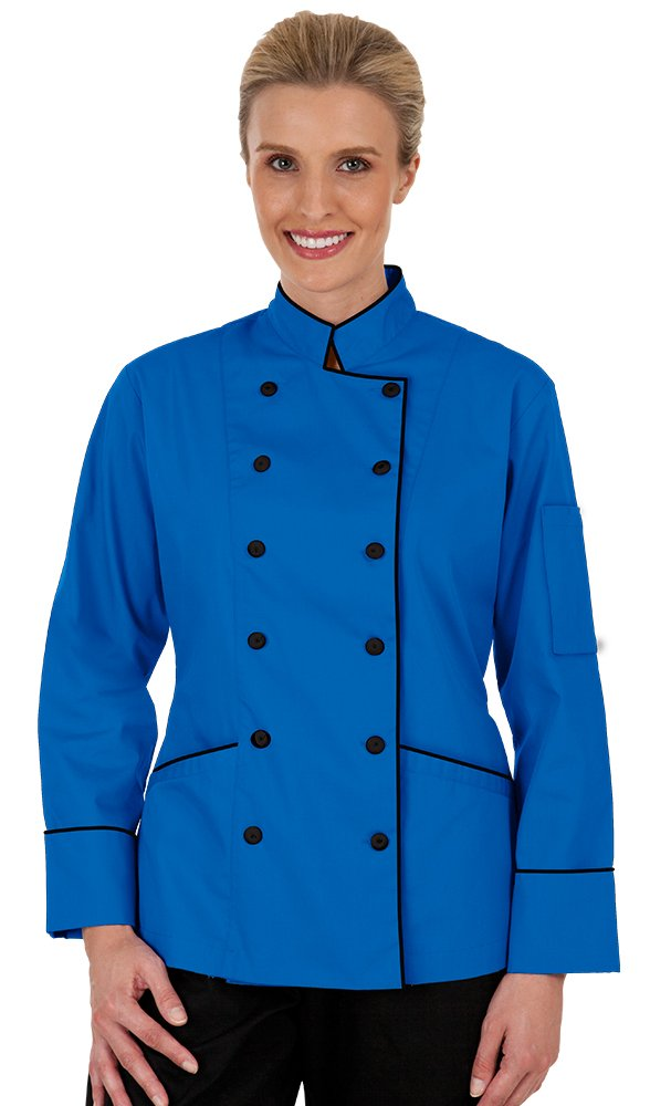 Women's Ocean Blue Long Sleeve Chef Coat with Piping (XS-3X) (X-Large)