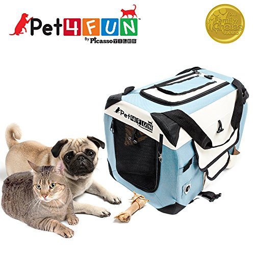 PET4FUN PN950 Foldable Pet Puppy Dog Cat Carrier & Travel Crate w/ Premium 600D Oxford Cloth, Strong Steel Frame, Carry Bag, Locking Zippers, Washable Nap Pad, Room Airy Windows (Small/Blue)