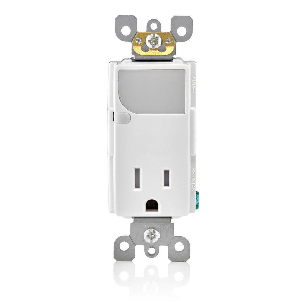 Leviton T6525 W 15 Amp 125v Ac Combination Decora Tamper Resistant Wall Occupancy Sensor Wiring Diagram Free Picture Receptacle With Led Guide Light White Electrical Outlets