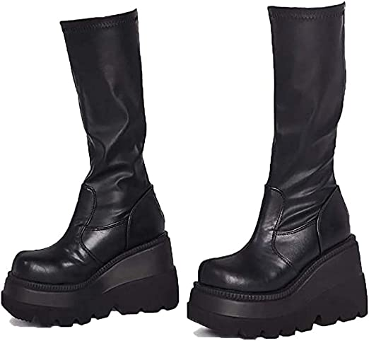 Amazon.com: PoJu Black Platform Boots